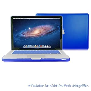 "GMYLE® Blue Frosted Matte Rubber Coated See Thru Hard Shell Clip Snap On Case Skin Cover for Apple 13.3"" inches Macbook Pro Aluminum Unibody - With Silicone Blue Protective Keyboard Cover - 2 in 1 - (not fit for 13 Macbook Pro with Retina display)"