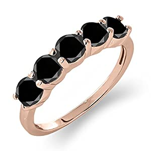 1.35 Ct Round Black Diamond 925 Rose Gold Plated Silver 5-Stone Band