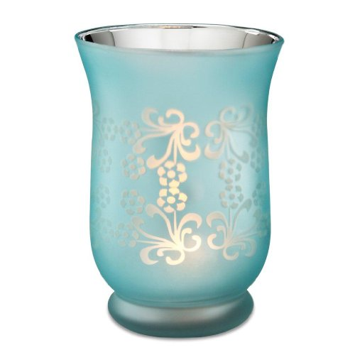 Calla Trio By Pavilion Gift Glass Hurricane Candle Holder, Aqua, 6 Inch Tall