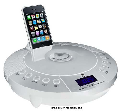 Pyle Home PICL48W iPhone and iPod FM Radio Receiver with CD Player and Alarm Clock