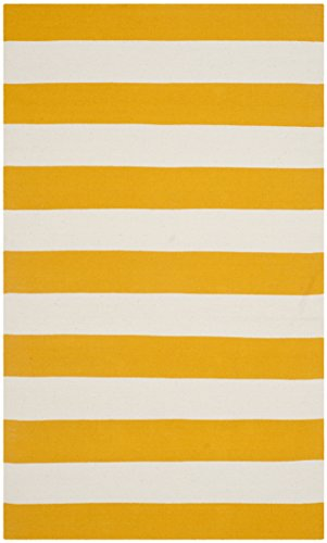 Safavieh Montauk Collection MTK712A Hand Woven Yellow and Ivory Cotton Area Rug, 3 feet by 5 feet (3' x 5')