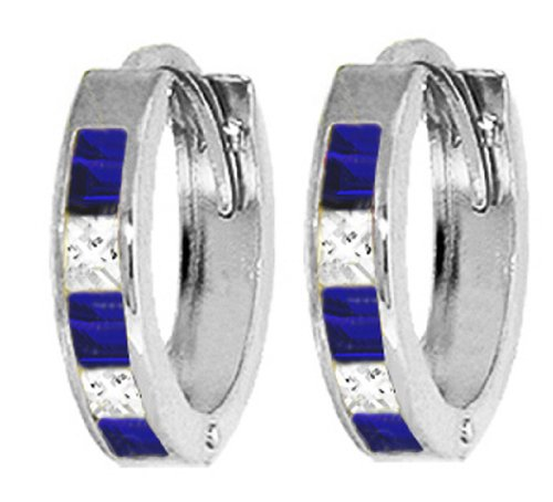 .925 Sterling Silver Hoop Earrings with Imitation Sapphires & Cubic Zirconia CZ