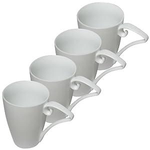 Set of 4 16oz Pure White Porcelain Coffee Mugs