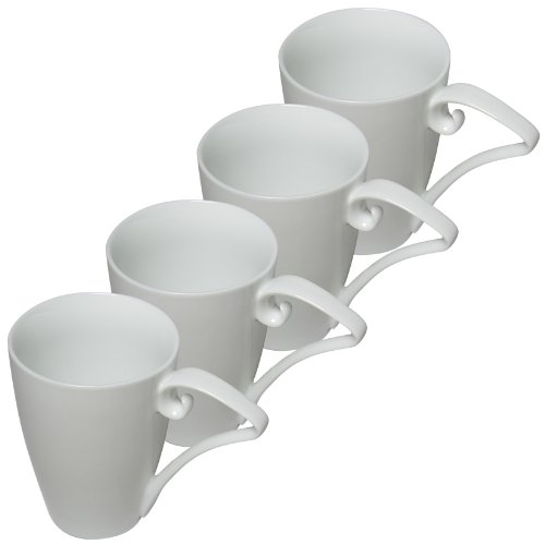 Set Of 4 16Oz Pure White Porcelain Coffee Mugs