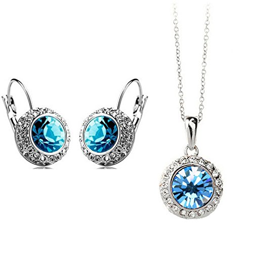 Habors-18K-White-Gold-Plated-Ocean-Blue-Princess-Celebrity-Necklace-and-Earring-Set-Diwali-Offer