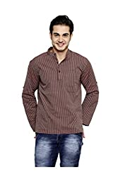 Dhrohar Maroon Stripes Rollup Sleeve Short Kurta