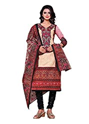 Salwar Style Design Women's Cotton Unstitched Salwar Suit Dress Material (SS1016_Free Size_Cream & Maroon)