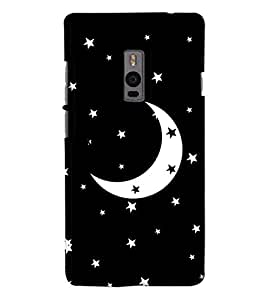 Go Yankee Stars with Moon on Black Back Case Cover For One Plus Two