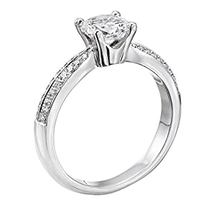 GIA Certified 14k white-gold Round Cut Diamond Engagement Ring (0.62 cttw, G Color, SI1 Clarity)