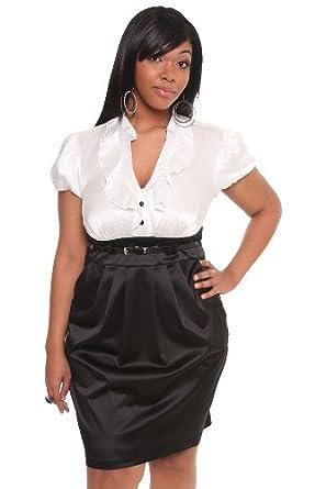 black and white pocket secretary dress clothing