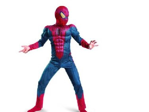The Amazing Spiderman Movie Deluxe Muscle Costume 7-8 Includes Mask and Gloves