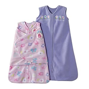 HALO SleepSack 2 Piece Micro-Fleece Swaddle and Wearable Blanket Gift Set, Pink and Lavender Flowers and Ladybugs, Newborn/Small