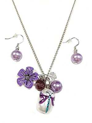 Linpeng Fiona Hand Painted Dragonfly Glass Bead, Crystal Pearl Beads, Flower Charms Necklace and Earrings Set, Violet