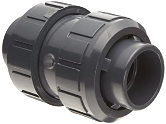 Asahi America True Union PVC Check Valve, FKM Seat, Socket Weld & NPT Female Convertible