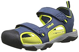 Teva Toachi Closed Toe Sandal (Little Kid/Big Kid), Navy/Lime-T, 6 M US Big Kid