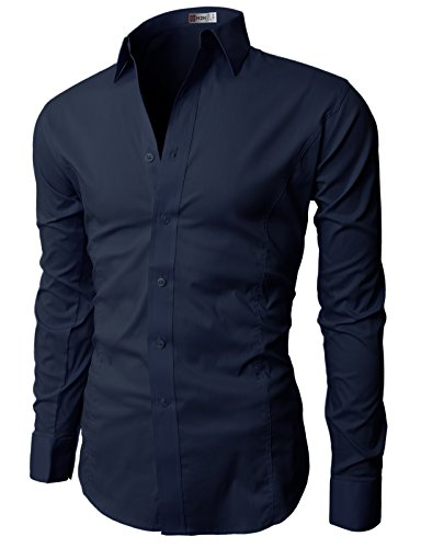 H2H Men's Wrinkle Free Slim Fit Dress Shirt w/ Solid Long Sleeve, JASK14 Navy, ASIA L (US M) (H And M Clothing Men compare prices)