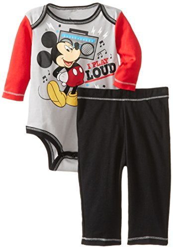 Disney Baby Boys Newborn Mickey Mouse Bodysuit And Pant Set, Grey, 3-6 Months front-1041302