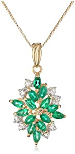 """18k Yellow Gold-Plated Sterling Silver Created Green Emerald and Diamond Pendant Necklace, 18"""""""