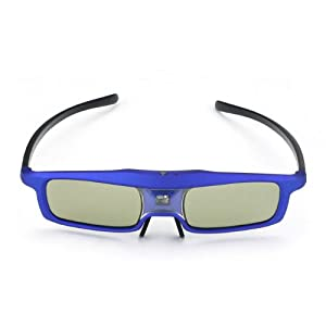 SainSonic Rainbow Series Blue 3D Active Rechargeable Shutter Glasses for Mitsubishi, Samsung, Acer, BenQ, Optoma, Dell, Vivitek, NEC, Sharp, ViewSonic DLP-Link Projector and 3D Ready DLP HDTV