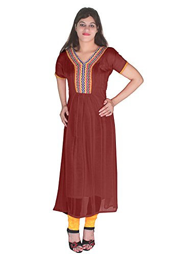 Plane Dark Brown Georgette Kurti With Lace Works Kurti