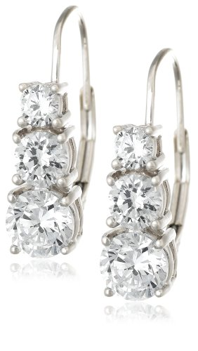 Platinum Plated Sterling Silver Round Cubic Zirconia Three-Stone Lever Back Earrings