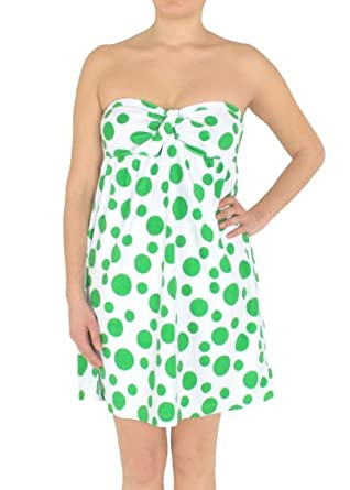 Capelli New York Ladies Allover Dots Printed Terry Strapless Tie Empire Cover Up Green Combo X-Large