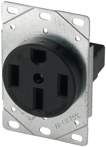 Cooper Wiring Devices 1258-SP 3-Pole, 4-Wire 50-Amp 125/250 Volt Flush Mount Range Power Receptacle, Black