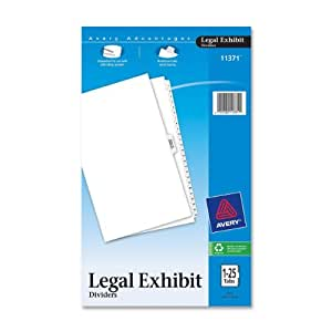 Avery Legal Index Dividers, Legal Size, Side Tabs, 1-25 and Table of Contents, 1 Set (11371)