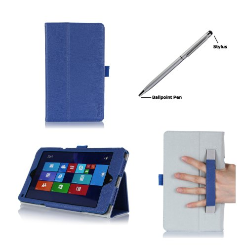 Procase Folio Case With Stand For Lenovo Thinkpad 8 Tablet (Windows 8.1 Tablet, 64Gb, 128Gb), Bonus Stylus Pen Included (Navy, Dark Blue)