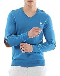 US POLO ASSOCIATION Men's Poly Cotton Sweater (USSW0404_Blue_XX-Large)
