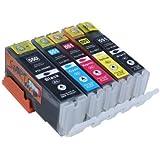 Start - 5 XL Ersatz Chip Patronen kompatibel zu Canon PGI-550BK XL Schwarz, CLI-551BK XL Foto-Schwarz, CLI-551C XL Cyan, CLI-551M XL Magenta, CLI-551Y XL Gelb für Canon Pixma iP7250, iP8750, iX6850, MG5450, MG5550, MG6350, MG6450, MG7150, MX725, MX925
