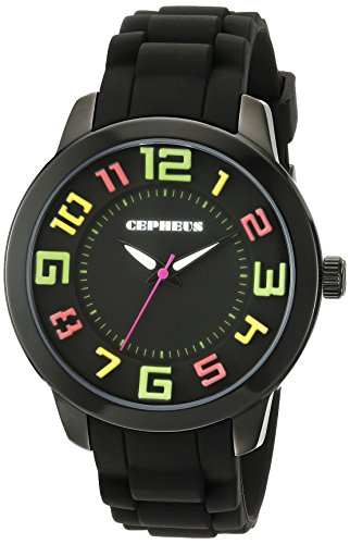 Cepheus Women's Quartz Watch with Black Dial Analogue Display and Black Silicone Strap CP604-622
