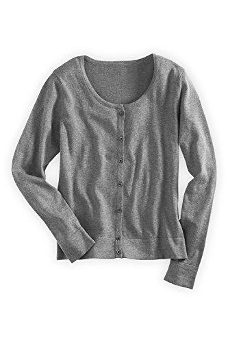 Fair Indigo Fair Trade Jewel Neck Cardigan (L, Grey Heather) front-1004997