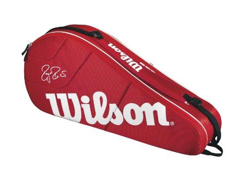 Wilson Schlägertasche Federer Team 3er Racket Bag, Rot, 75 x 32 x 11 cm, 30 Liter, WRZ833403