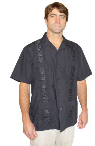 Buy Squish West Line Cuban Style Guayabera Shirt / Black - Medium