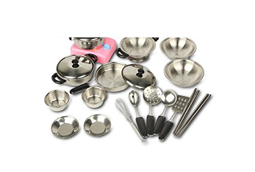 MAGIKON 17-Piece Stainless Steel Pots and Pans Set , Pretend Play Kitchen Cooking Utensils (Children Pot And Pans compare prices)