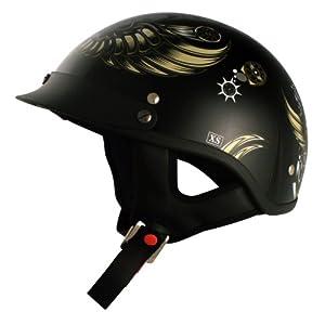 VCAN V531 Cruiser Awesome Aviator Graphics Half Helmet (Gloss Black, Medium)