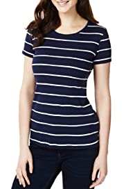 Pure Cotton Striped T-Shirt with Stay New? [T41-2509J-S]