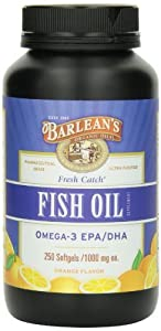 Barlean's Organic Oils Fresh Catch Fish Oil, Orange Flavor, 1000mg, 500 Softgels