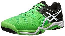 ASICS Men\'s Gel-Resolution 6 Tennis Shoe, Flash Green/White/Black, 6.5 M US