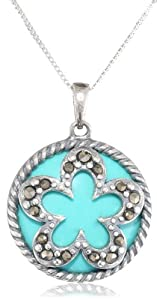Sterling Silver Oxidized Turquoise and Marcasite Flower with Twisted Edge Round Pendant Necklace, 18