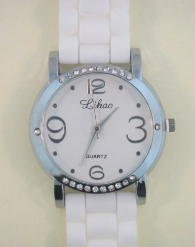 White Silicone Rubber Gel Watch Link Look Ceramic Style. Color Of Face Coordinates With Band Color. Top And Bottom Of Bezel Are Diamond Studded.