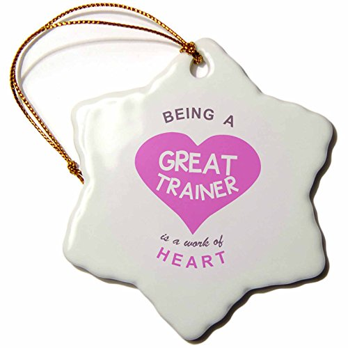 3dRose orn_183889_1 Being a Great Trainer Is a Work of Heart. Pink Job Love Appreciation Snowflake Ornament, Porcelain, 3-Inch