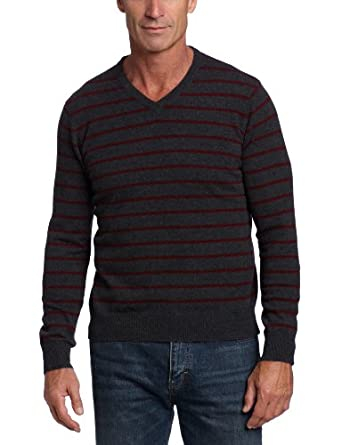 Williams 纯羊绒男士V领条纹毛衣Cashmere 100% Cashmere Thin 多色 $76.99
