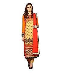 Yepme Women's Beige Blended Semi Stitched Suit - YPMRTS0033_Free Size