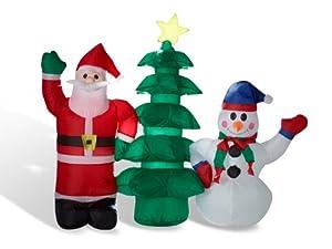 P re no l avec bonhomme de neige et sapin gonflables et - Decoration noel renne lumineux ...