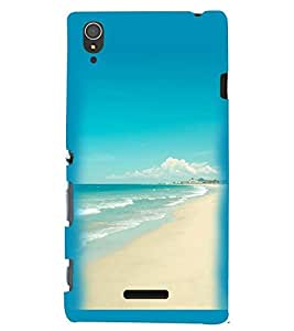 Printvisa Beautiful Seaside Scene Back Case Cover for Sony Xperia T3