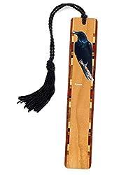 Raven - Bird - Wooden Bookmark with Tassel