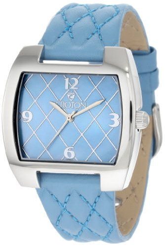 Croton Women's CN207168BUMP Blue Quilted Blue Mother-Of-Pearl Dial Watch