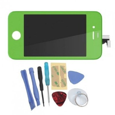 Binnbox Green Lcd Touch Screen Glass Digitizer Assembly Replacement For Iphone 4S Gsm + Back Cover Case + A Set Cracked Screen Repair Tools Kit